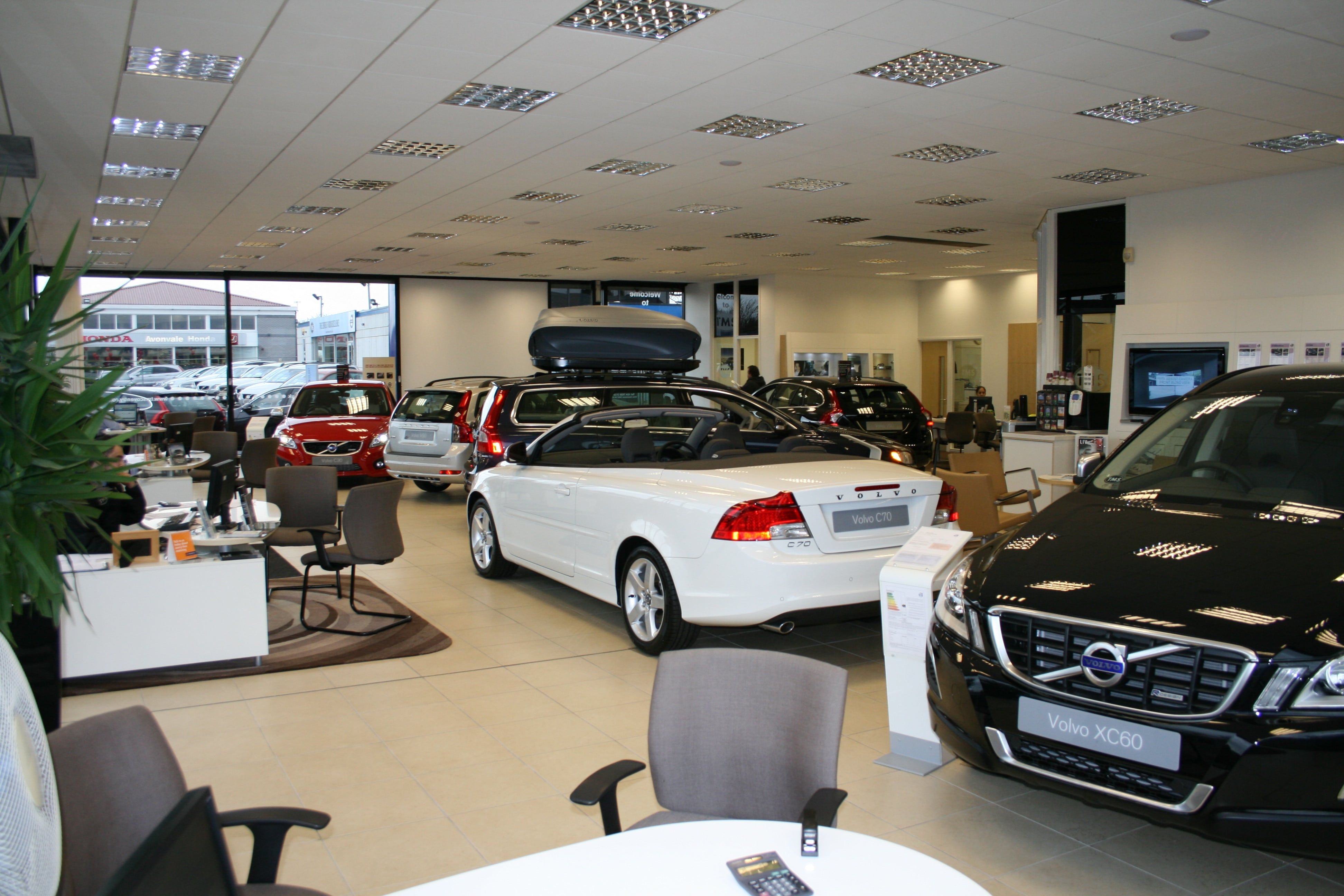 car showroom clean